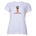 2018 FIFA World Cup Russia Official Emblem Women's T-Shirt (White)