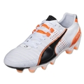 PUMA King II FG Cleats (White/Black/Fluo Flash Orange)