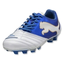 PUMA PowerCat 2.12 FG KIDS Cleats (White/PUMA Royal/Team Gold)