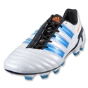 adidas adiPower Predator TRX FG Cleats (White/Sharp Blue Metallic/Black/Warning)