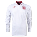 England 12/13 Long Sleeve Home Soccer Jersey