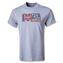 Utopia I Heart USA Soccer T-Shirt (Gray)