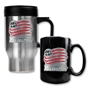 New England Revolution Stainless Steel Travel Mug and Black Ceramic Mug Set