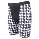 Men's Checkerboard Compression Short-7 Inseam (Blk/Wht)