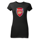 Arsenal Crest Junior Women's T-Shirt (Black)