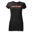 Manchester United Stripe Logo Junior Women's T-Shirt (Black)