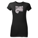 Puro Futebol Distressed College Junior Women's T-Shirt (Black)