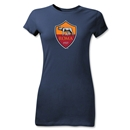 AS Roma Crest Junior Women's T-Shirt (Navy)