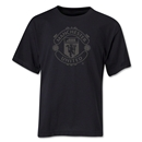 Manchester United Tonal Crest Youth T-Shirt (Black)