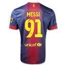 Barcelona 12/13 Messi 91 Goals Home Soccer Jersey