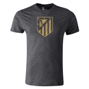 Atletico Madrid Distressed Crest Men's Fashion T-Shirt (Dark Gray)