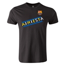 Barcelona A.Iniesta Men's Fashion T-Shirt (Black)