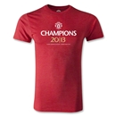 Manchester United 2013 Champions Crest Men's Fashion T-Shirt (Heather Red)