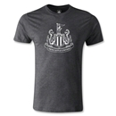 Newcastle United Distressed Crest Men's Fashion T-Shirt (Dark Gray)