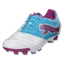 PUMA Women's PowerCat 3.12 FG (White/Blue Atoll/Festival Fuschia)