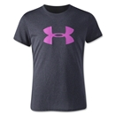 Under Armour Girls Big Logo Tech T-Shirt (Black/Pink)
