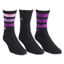 adidas Women's 3-Pack Retro Crew Sock (Black/Pink)