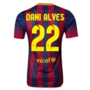 Barcelona 13/14 DANI ALVES Authentic Home Soccer Jersey
