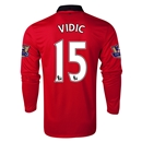 Manchester United 13/14 VIDIC LS Home Soccer Jersey