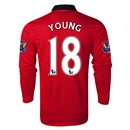 Manchester United 13/14 YOUNG LS Home Soccer Jersey