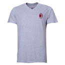 AC Milan Small Logo V-Neck T-Shirt (Gray)