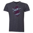 Aston Villa Distressed V-Neck T-Shirt (Dark Gray)