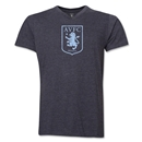 Aston Villa Distressed Club Logo Men's V-neck T-Shirt (Dark Gray)