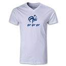 France FFF Men's V-Neck T-Shirt (White)