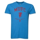 Manchester United Distressed MUFC V-Neck T-Shirt (Heather Turquoise)