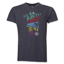 Manchester United Distressed Multi Color Devil V-Neck T-Shirt (Dark Gray)