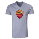 AS Roma Crest V-Neck T-Shirt (Gray)