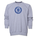 Chelsea Distressed Emblem Crewneck Fleece (Gray)