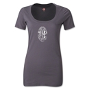 AC Milan Distressed Logo Women's Scoopneck T-Shirt (Dark Gray)