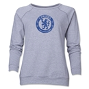 Chelsea Distressed Emblem Women's Crewneck Fleece (Gray)