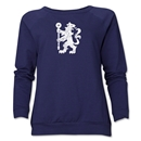 Chelsea Distressed Lion Women's Crewneck Fleece (Navy)