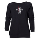 Chelsea Distressed Retro Women's Crewneck Fleece (Black)