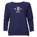 Chelsea Distressed Retro Women's Crewneck Fleece (Navy)