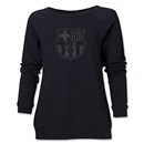 Barcelona Distressed Women's Crewneck Sweatshirt (Black)
