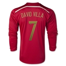 Spain 2014 DAVID VILLA LS Home Soccer Jersey