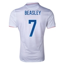 USA 2014 BEASLEY Authentic Home Soccer Jersey