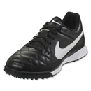 Nike Junior Tiempo Genio Leather TF (Black/White)