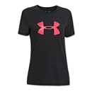 Under Armour Charged Cotton Women's Big Logo T-Shirt (Black/Pink)