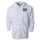 Brazil Flag Full Zip Hooded Fleece (White)