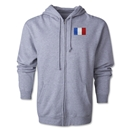 France Flag Full Zip Hooded Fleece (Grey)