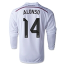 Real Madrid 14/15 ALONSO LS Home Soccer Jersey