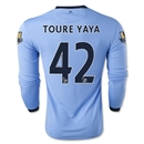 Manchester City 14/15 TOURE YAYA LS Home Soccer Jersey