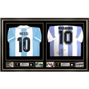Leo Messi & Diego Maradona Signed and Framed Argentina Jerseys