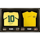 Pele & Gordon Banks Signed and Framed Argentina & England Jerseys