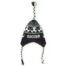 Fleece Lined Soccer Knit Hat (Blk/Green)