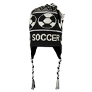 Fleece Lined Soccer Knit Hat (Blk/Wht)